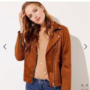 Loft faux suede moto jacket M